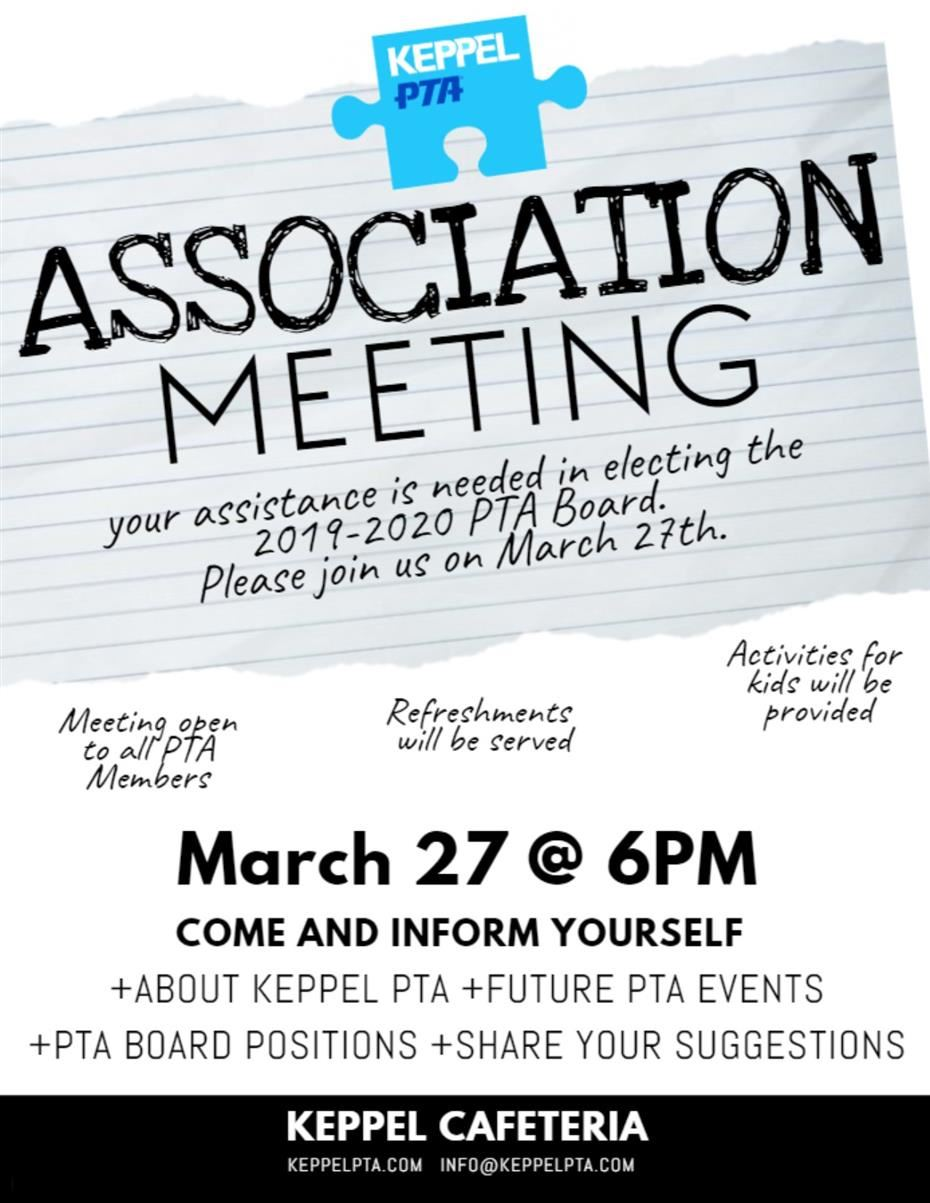 Click Here for PTA Association Meeting Flyer