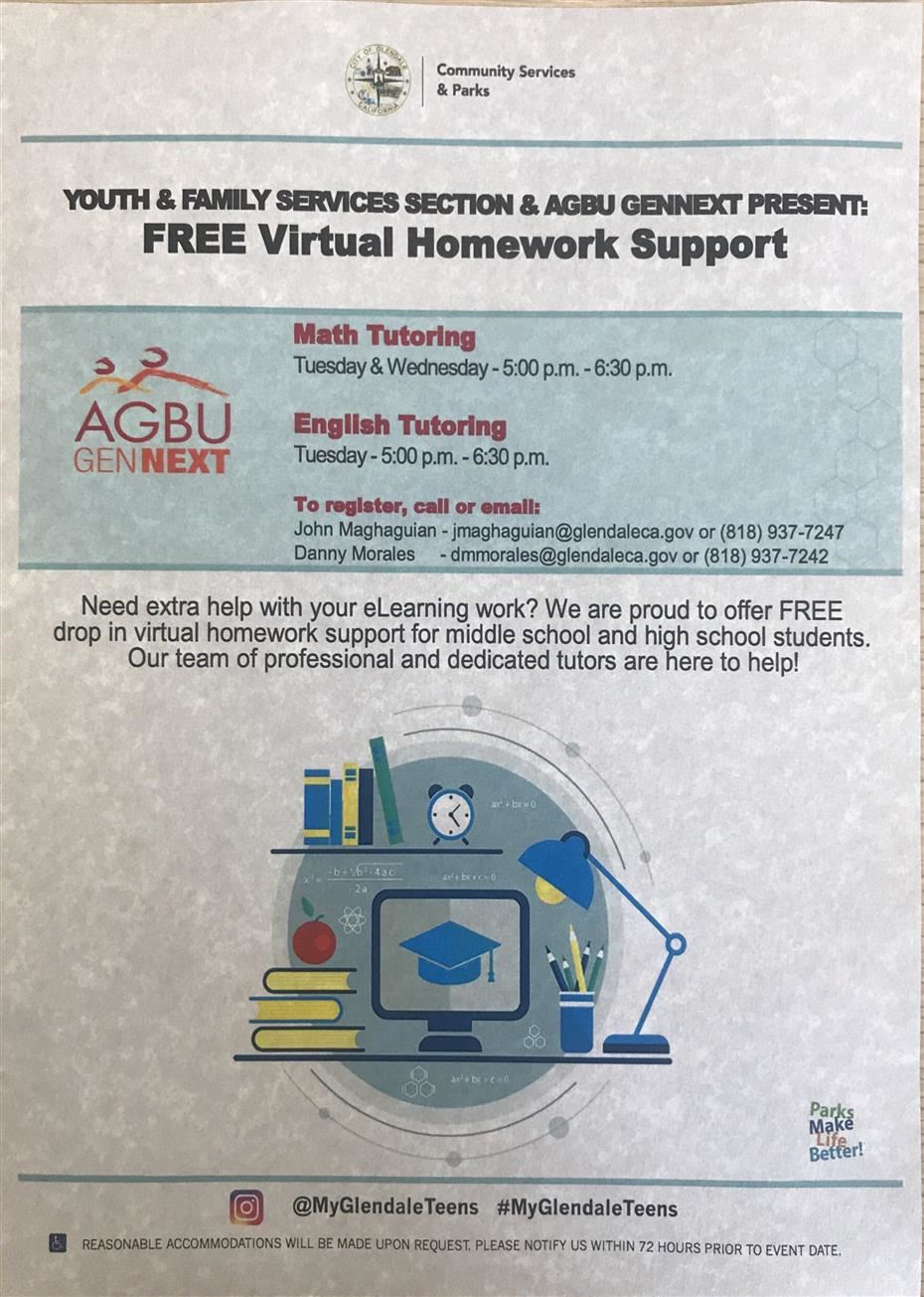 Attached is a flyer for FREE virtual homework support