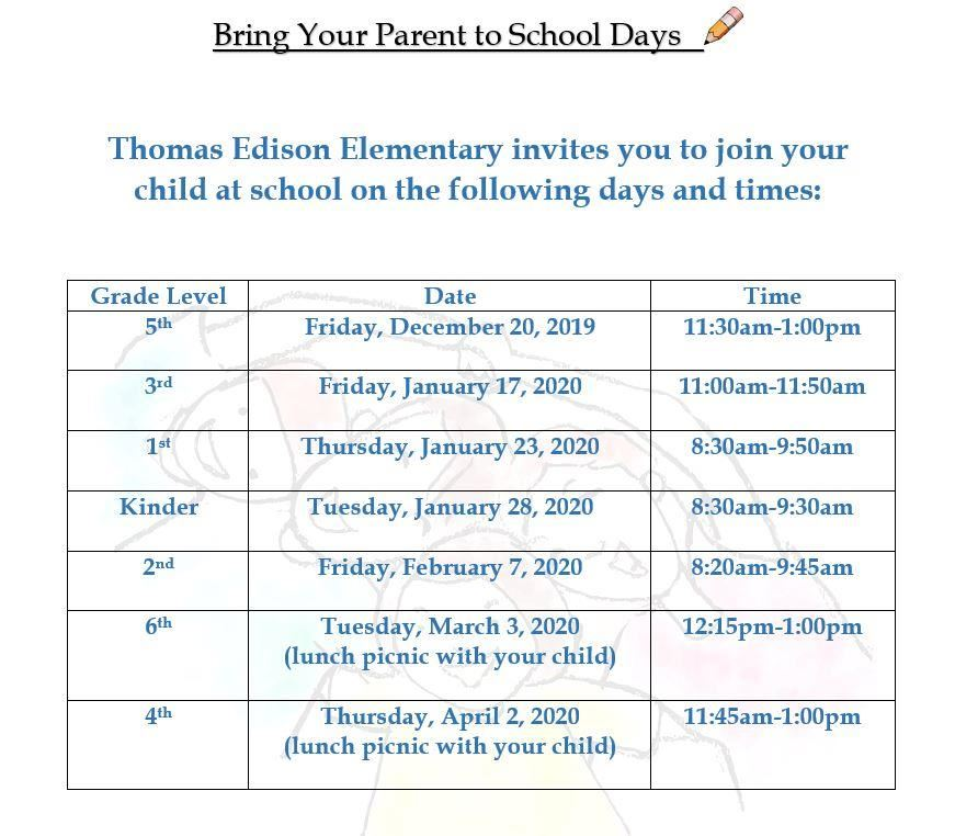 Bring Your Parent To School Days