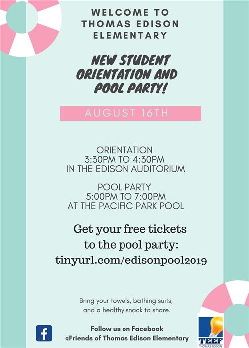 New Student Orientation and Pool Party