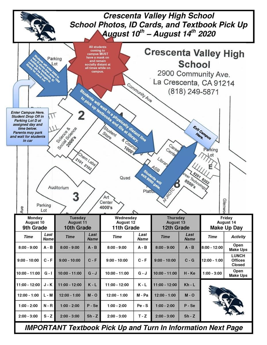 Crescenta Valley High School Photos, ID Cards, and Textbook Pickup August 10th - August 14th, 2020