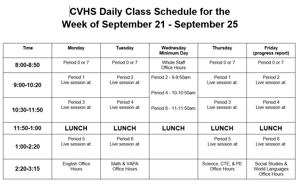 Distance Learning Schedule - Week of September 21, 2020