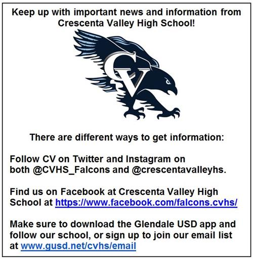 Follow CVHS on Social Media and Email!!
