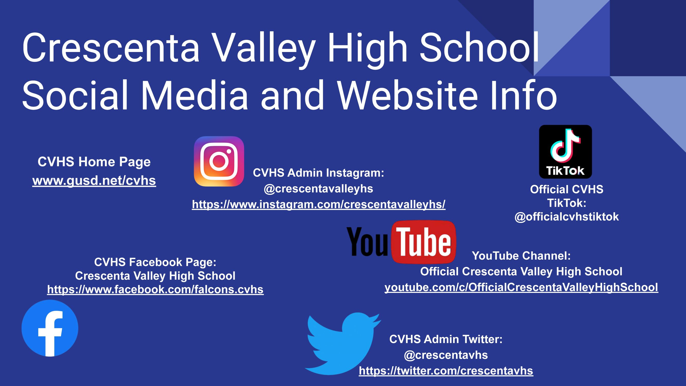 Click HERE for a Clickable PDF with active links to CVHS Social Media and school website information!