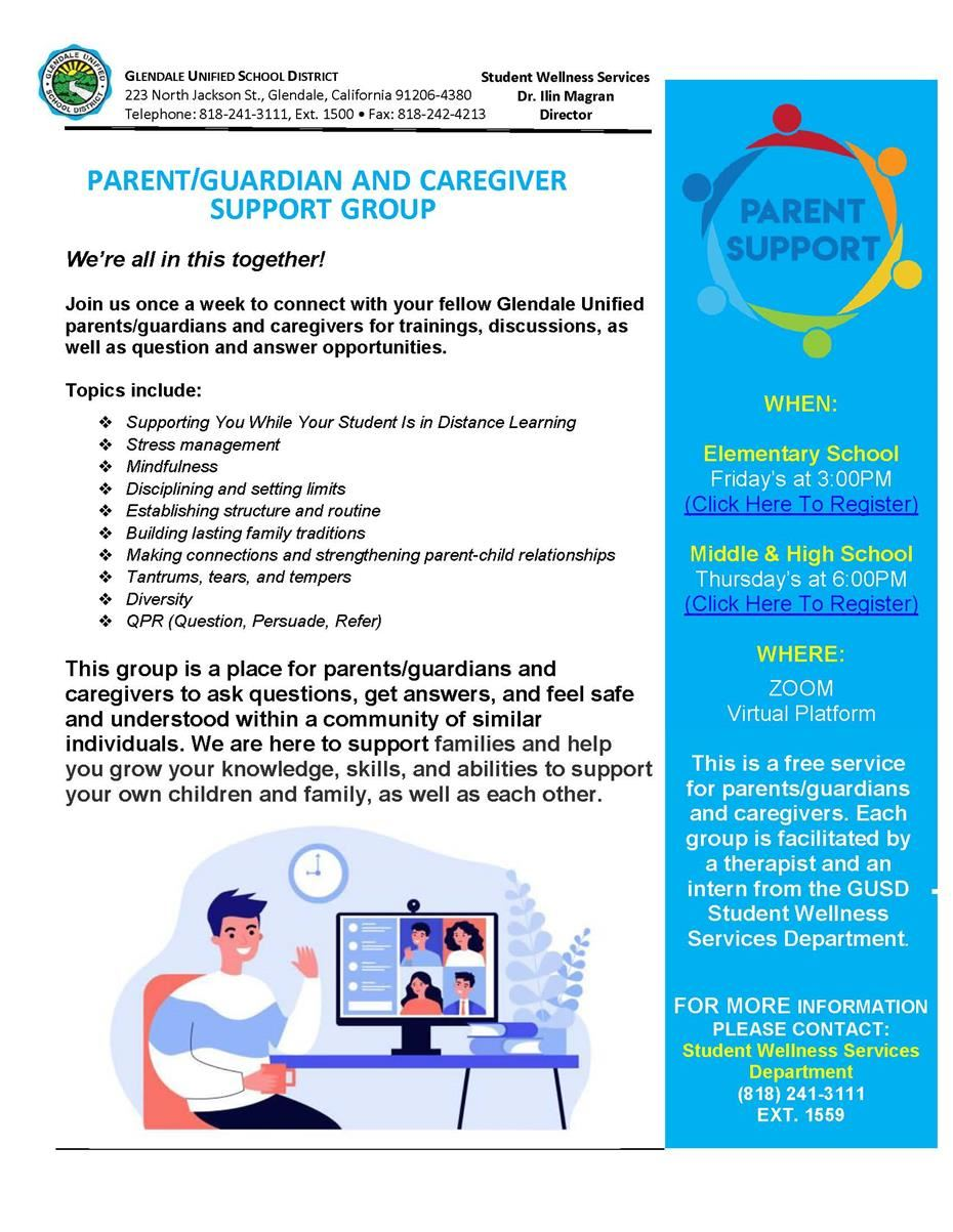 PARENT/GUARDIAN/CAREGIVER SUPPORT GROUP - IMPORTANT UPDATE!!