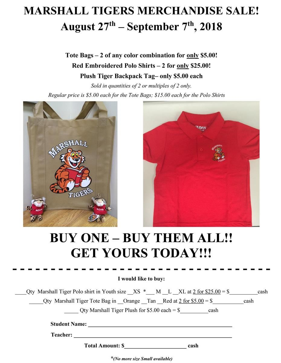 MARSHALL TIGERS MERCHANDISE SALE!