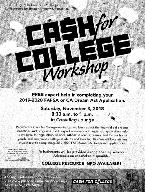 Cash for College PCC
