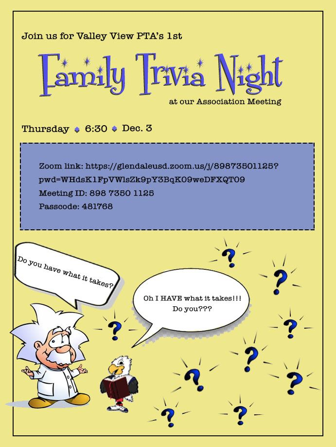 Valley View Family Trivia Night Dec. 3