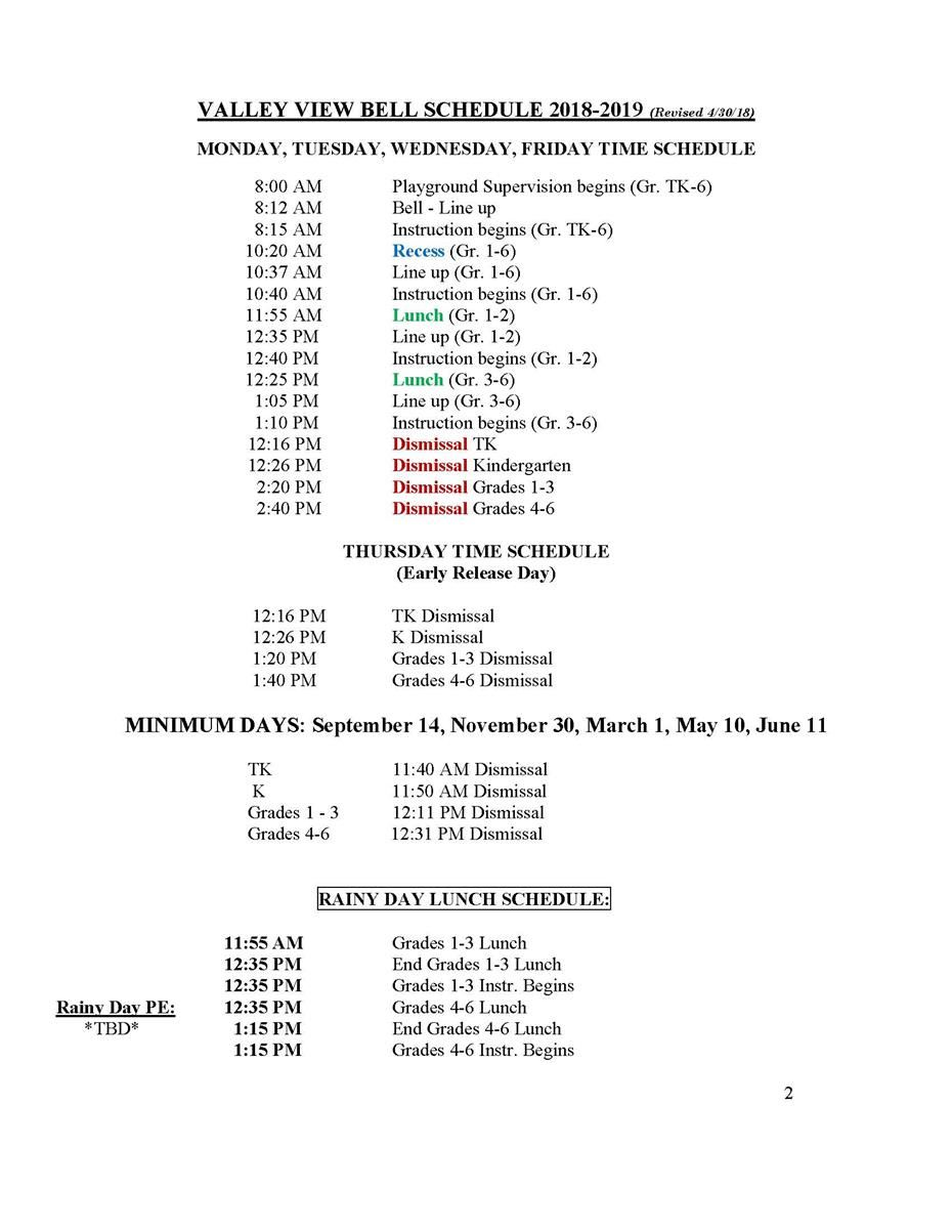 2018-19 Valley View Schedule