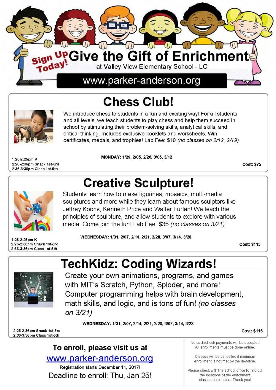 New Enrichment Classes Start 1/29/2018