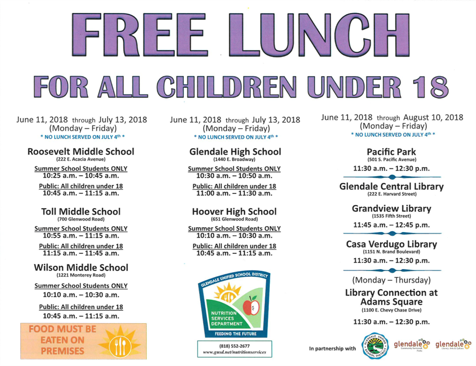 Free Lunch: Summer 2018