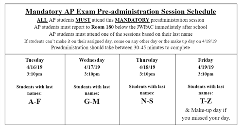 2019 AP Exam Pre-Administration Session Information