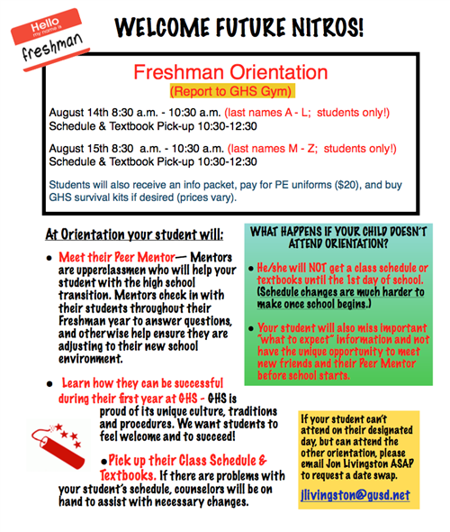 Welcome Future Nitros! Incoming Freshmen Orientation Information