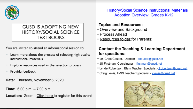 Parents/Guardians: GUSD is adopting new history/social science textbook