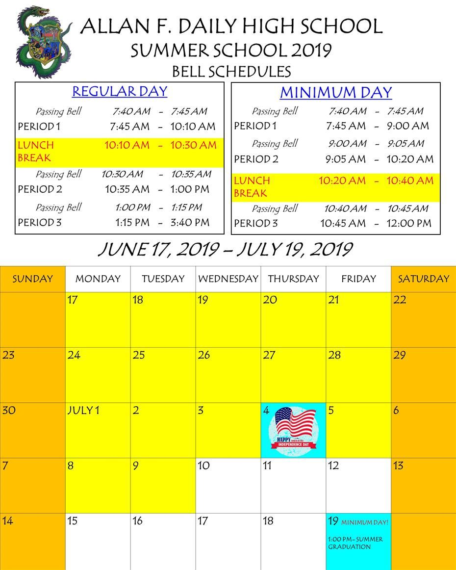 SUMMER SCHOOL SCHEDULE