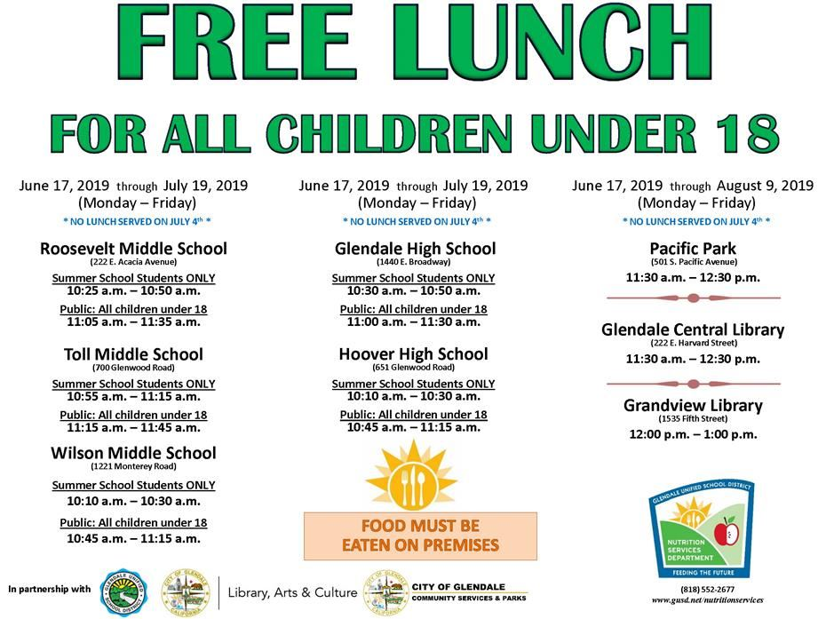 Free lunch for children under 18
