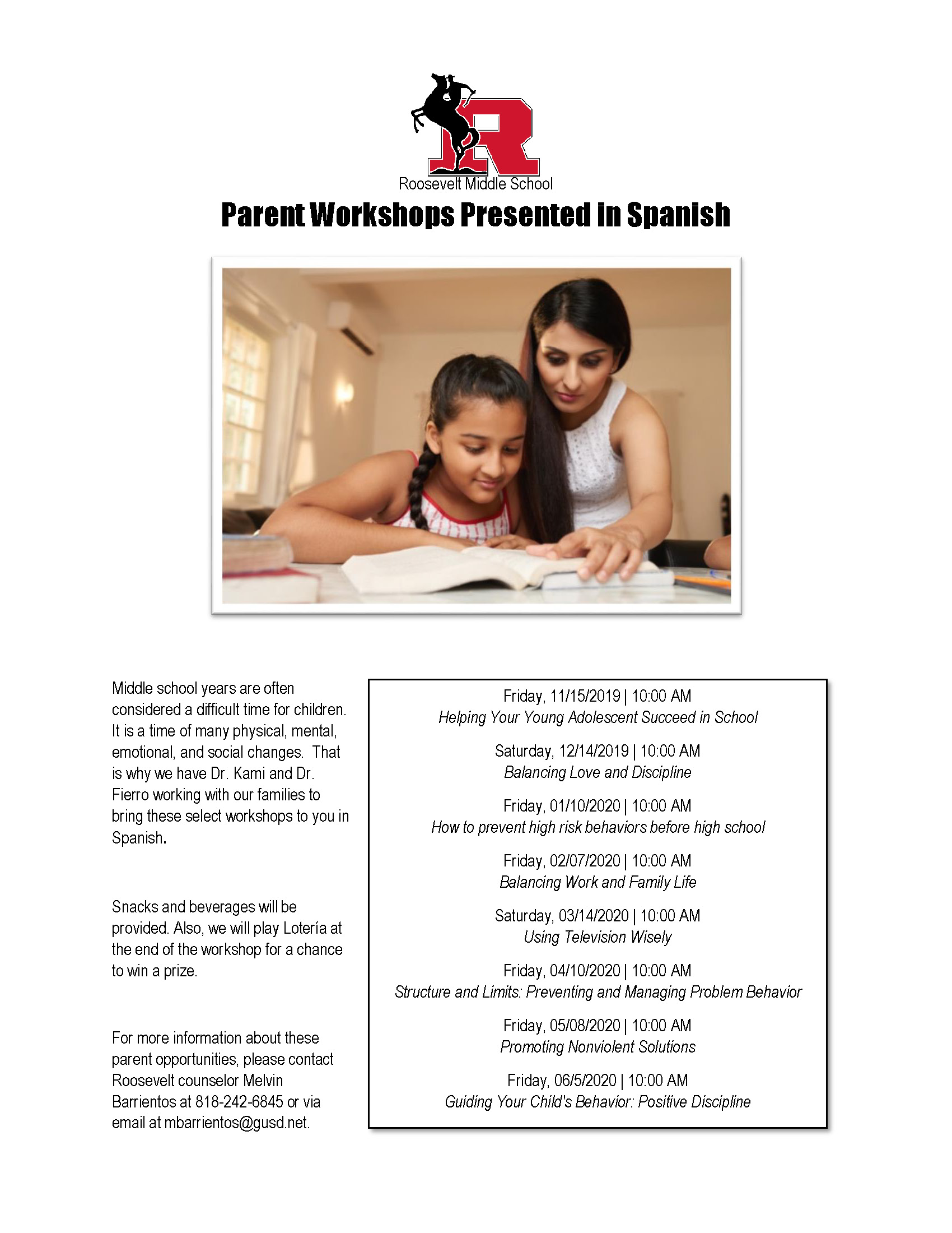 Parent Workshops Presented in Spanish/Talleres Para Padres
