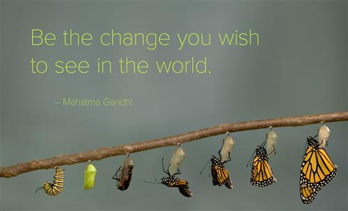 Be the change you wish to see in the world. -Mahatma Gandhi