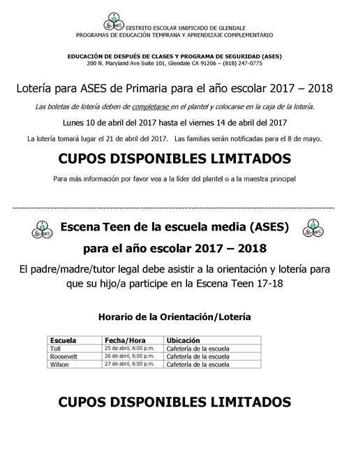 ASES Lottery Flyer Spanish