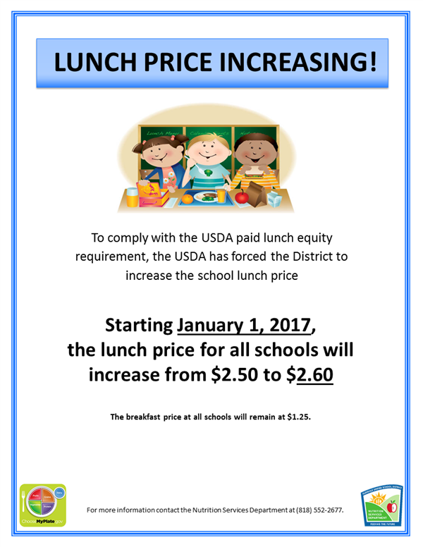 Letter To Parents About Lunch Price Increase