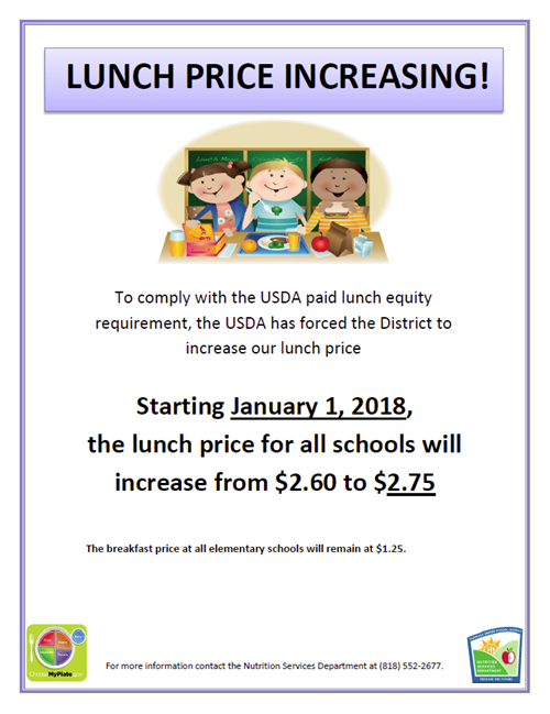 Lunch Price Increase Jan 2018